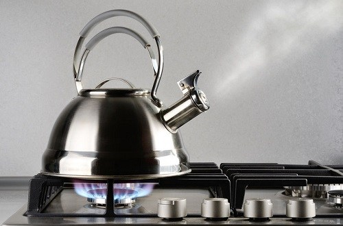 Hot Tea Kettle on a Gas Stove